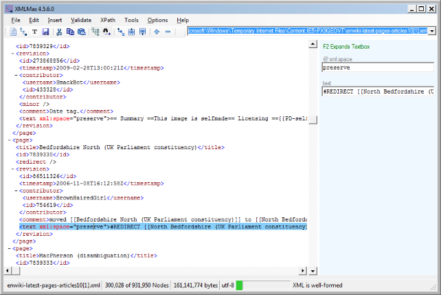 xml editor screenshot